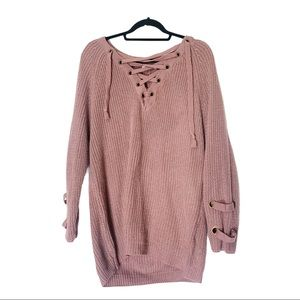 Miracle dusted pink smooth knit with tie detail